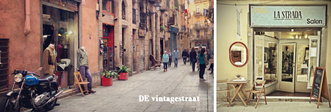 Vintagestraat en kapsalon